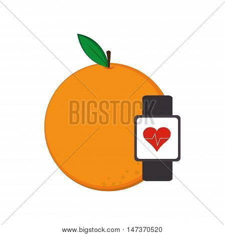flat design orange and heart rate wrist monitor icon vector illustration