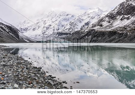 Reflection At Aoraki/mount Cook National Park, New Zealand