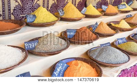 Pepper, variety of colorful spices and different flavors, spices traditional cooking
