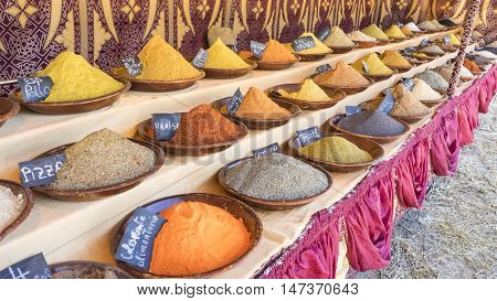 Natural, variety of colorful spices and different flavors, spices traditional cooking