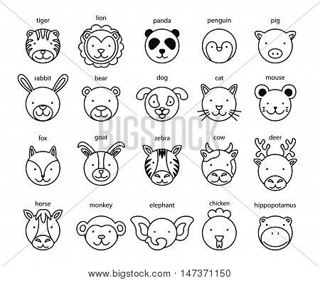 Line Animal Head Icon Set. Vector Illustration.