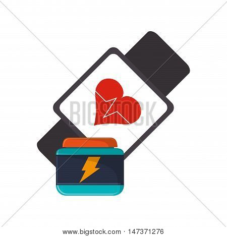 flat design heart rate wrist monitor and protein supplement icon vector illustration