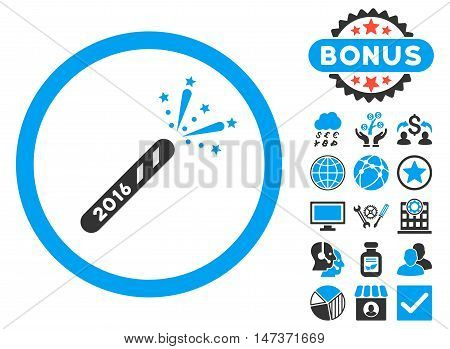 2016 Firecracker icon with bonus design elements. Vector illustration style is flat iconic bicolor symbols blue and gray colors white background.