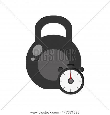 flat design kettlebell and chronometer  icon vector illustration