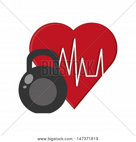 flat design heart cardiogram and kettlebell  icon vector illustration