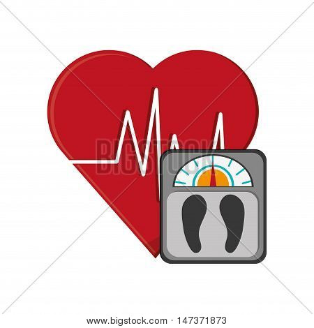 flat design heart cardiogram and weight scale  icon vector illustration