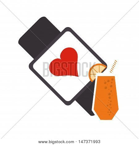 flat design heart rate wrist monitor and  juice icon vector illustration