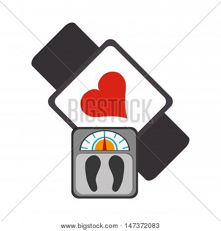 flat design heart rate wrist monitor and weight scale  icon vector illustration