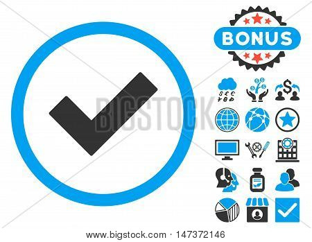 Accept icon with bonus pictogram. Vector illustration style is flat iconic bicolor symbols blue and gray colors white background.
