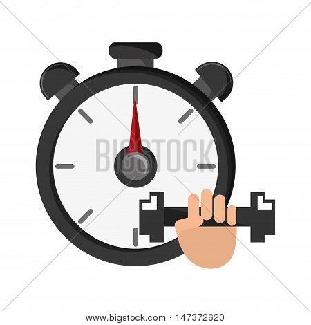 flat design chronometer and dumbbell  icon vector illustration