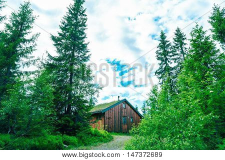 Wooden cabin with turf roof at a campsite in Norway