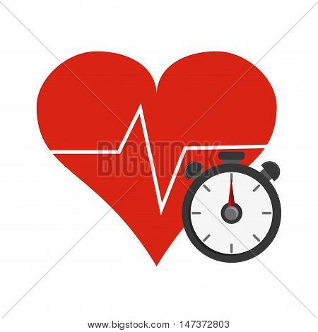 flat design heart cardiogram and chronometer  icon vector illustration