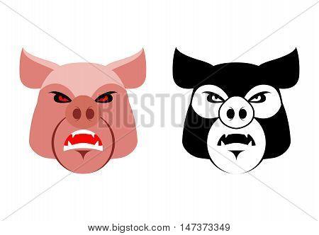 Angry Pig. Aggressive Wild Boar. Logo Big Boar. Grumpy Farm Animal. Logo For Sports Team