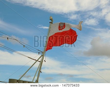 The only one flag. Gdynia, Poland September 05, 2016 Polish flag on the historic ship ORP Blyskawica World War II, moored at the quay port of Gdynia.