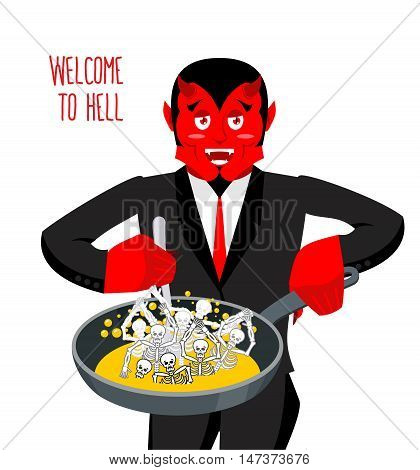 Satan Roasts Sinners In Pan. Skeletons In Boiling Oil. Hellish Torments. Devil Attempts Dead. Price