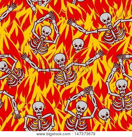 Sinners In Fire Hell Seamless Pattern. Dead In Gehenna. Skeletons Screaming For Help. Hells Torments