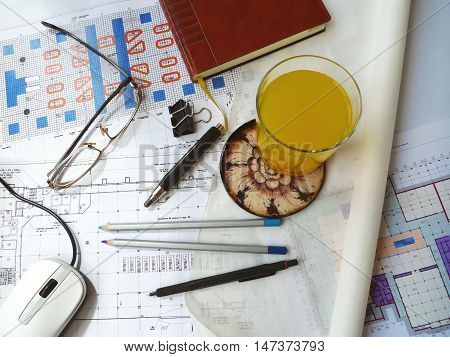 Business still life, background. Photo architectural drawings  (horizontal)
