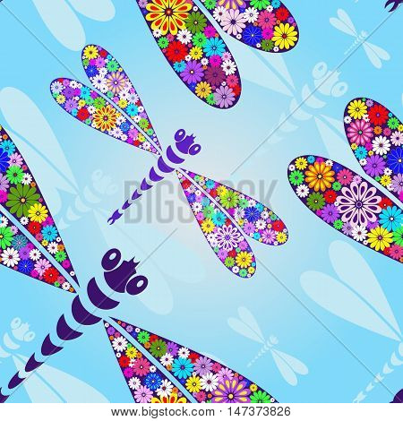 Spring seamless pattern with floral colorful dragonflies (vector EPS10)