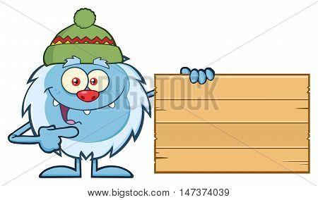 Cute Little Yeti Cartoon Mascot Character With Hat Pointing To A Wooden Blank Sign. Illustration Isolated On White Background