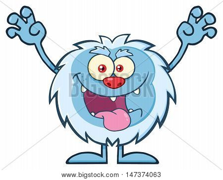 Scary Yeti Cartoon Mascot Character With Open Arms And Mouth. Illustration Isolated On White Background