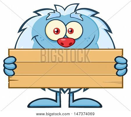 Cute Little Yeti Cartoon Mascot Character Holding Wooden Blank Sign. Illustration Isolated On White Background