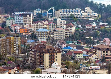 Sochi, Russia - February 12, 2016: Dagomys is a microdistrict of Sochi, Russia, known for its resorts, vacation spots and tea plantations.