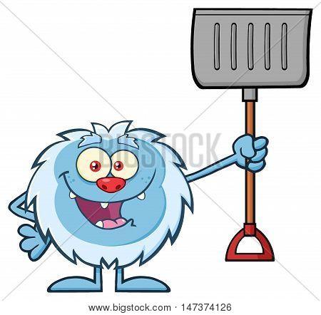 Happy Little Yeti Cartoon Mascot Character Holding Up A Winter Shovel. Illustration Isolated On White Background