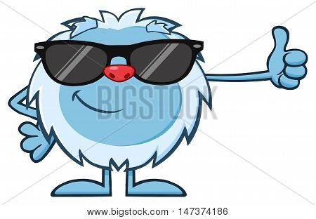Cute Little Yeti Cartoon Mascot Character With Sunglasses Holding A Thumb Up. Illustration Isolated On White Background