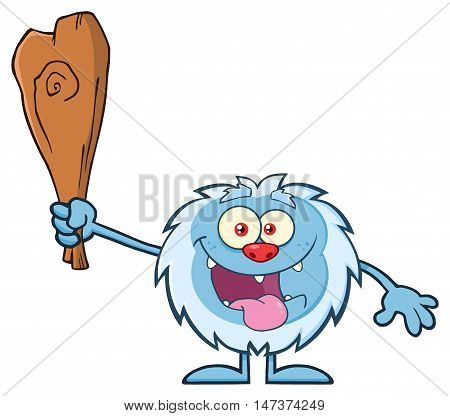 Crazy Little Yeti Cartoon Mascot Character Holding Up A Club. Illustration Isolated On White Background