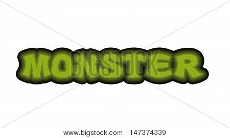 Monster Typography. Scary Green Letters. Logo For Monstrosity