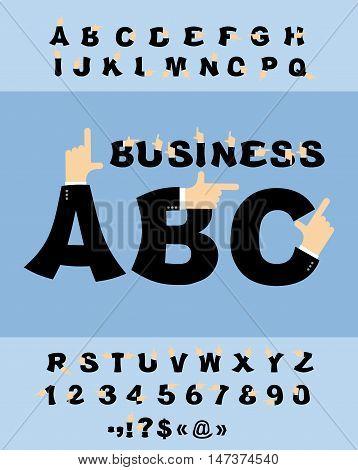 Business Hand Font. Pointing Finger Alphabet. Businessman Arm Alphabet. Finger Points To Typography