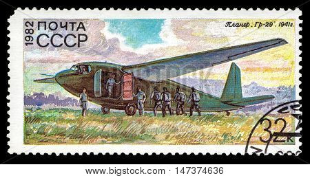 USSR - CIRCA 1982: A stamp printed in USSR (Russia) shows Soviet military glider Gr-29 from the series