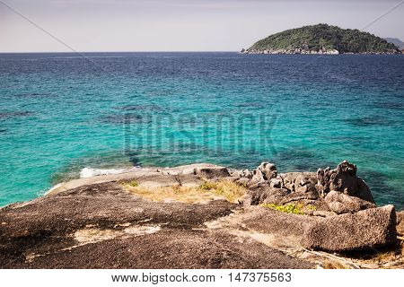From the island you can see another island of the Similan archipelago. Thailand