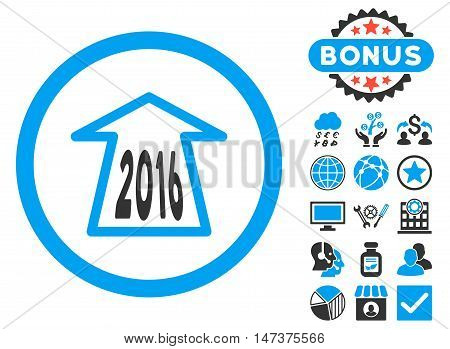 2016 Ahead Arrow icon with bonus. Glyph illustration style is flat iconic bicolor symbols, blue and gray colors, white background.