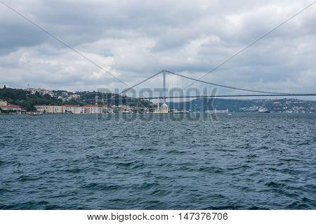 Bosphorus bridge connecting Asia and Europe in Istanbul Turkey