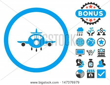 Aircraft icon with bonus elements. Vector illustration style is flat iconic bicolor symbols, blue and gray colors, white background.