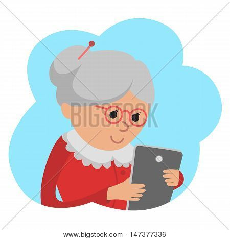 Vector illustration in flat style of grandmother use tablet