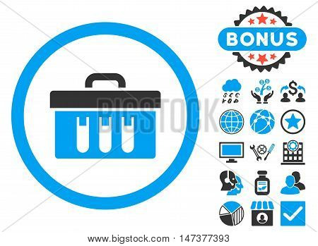 Analysis Box icon with bonus pictures. Vector illustration style is flat iconic bicolor symbols, blue and gray colors, white background.