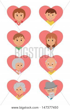Grandparents parents and children in pink hearts. Family icons set.