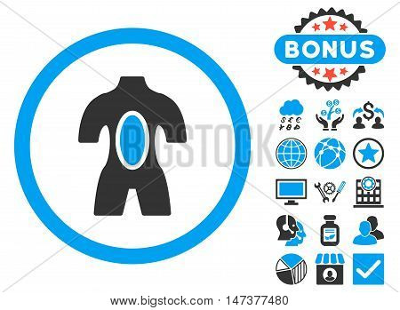 Anatomy icon with bonus pictogram. Vector illustration style is flat iconic bicolor symbols, blue and gray colors, white background.