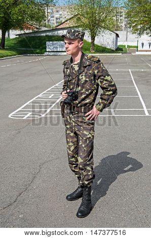 Dnepropetrovsk Ukraine - November 18 2013: Military photojournalist armed forces of Ukraine