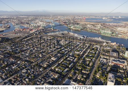 Los Angeles, California, USA - August 16, 2016:  Aerial view of downtown San Pedro and Los Angeles Harbor in Southern California.