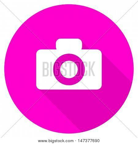 camera flat pink icon