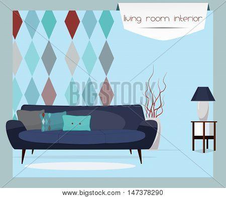 Furniture. Living room interior. Sofa, table, lamp.