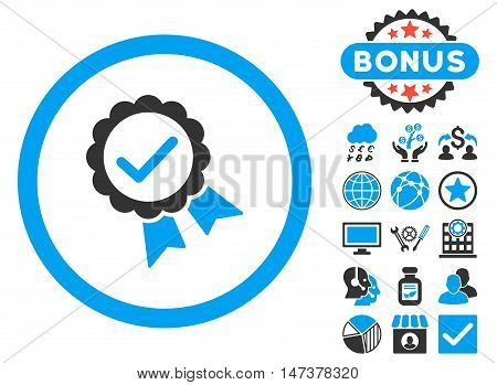 Approved icon with bonus elements. Vector illustration style is flat iconic bicolor symbols, blue and gray colors, white background.