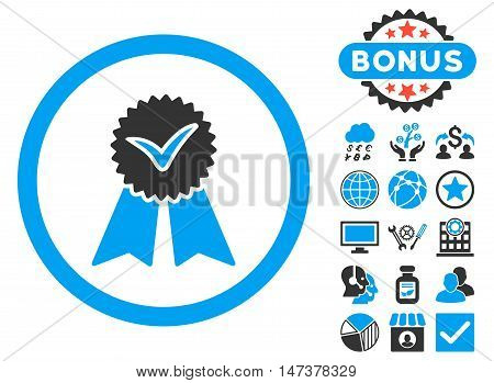 Approvement Seal icon with bonus images. Vector illustration style is flat iconic bicolor symbols, blue and gray colors, white background.