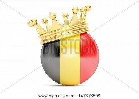 Crown with flag of Kingdom of Belgium 3D rendering