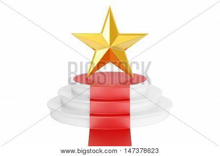 Golden star award 3D rendering isolated on white background