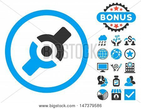 Artificial Joint icon with bonus symbols. Vector illustration style is flat iconic bicolor symbols, blue and gray colors, white background.