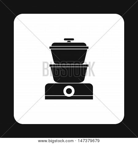 Steam cooker icon in simple style isolated on white background. Home appliances symbol vector illustration